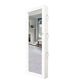 New View White Jewelry Armoire With Scarf Hooks