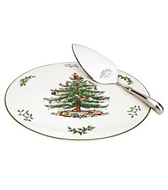 Spode® Christmas Tree Cake Plate With Metal Server