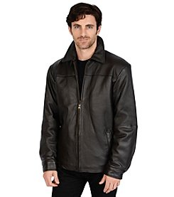 Excelled sheepskin men's leather classic open bottom jacket