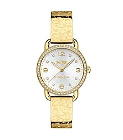 COACH DELANCEY 28MM SIGNATURE C GOLD PLATED BANGLE WATCH