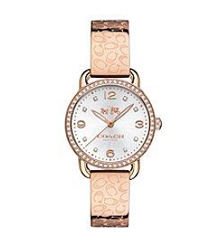 COACH DELANCEY 28MM SIGNATURE C ROSE GOLD PLATED BANGLE WATCH