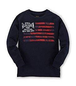 Ralph Lauren Childrenswear Boys' 2T-20 Long Sleeve Flag Tee