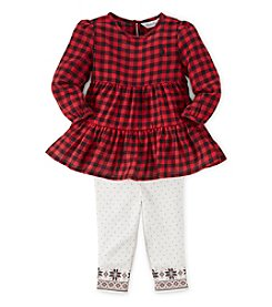 Ralph Lauren Childrenswear Baby Girls' 12-24 Month Plaid Holiday Leggings Set