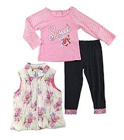 Nannette® Baby Girls' 12-24 Month 3-pc. Dot Floral Vest Set
