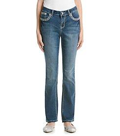 Earl Jean® Starburst Stud Stitch Flap Slim Bootcut Jean