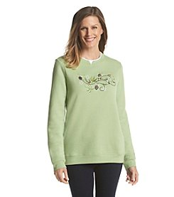 Breckenridge® Crew Neck Embellished Fleece Sweatshirt