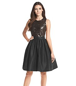 Calvin Klein Sequin Taffeta Fit And Flare Dress