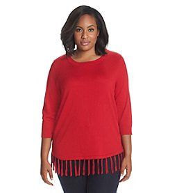 Notations® Plus Size Crew Neck Fringe Sweater