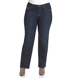 Earl Jean® Plus Size Swirl Patch Pocket Straight Leg Jeans
