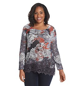 Oneworld® Plus Size Garden Print Top