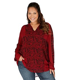 Lucky Brand® Plus Size Geo Pattern Top