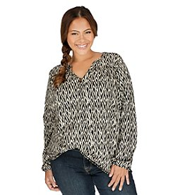 Lucky Brand® Plus Size Ikat Print Top