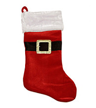 Traditional Red and White Velveteen Santa Claus Belt Buckle Christmas Stocking