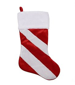 Red and White Candy Cane Inspired Striped Christmas Stocking with White Faux Fur Cuff
