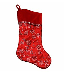 Red and Silver Glittered Floral Christmas Stocking with Shadow Velveteen Cuff