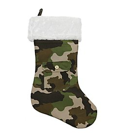 Army Camouflage Christmas Stocking with White Faux Fur Cuff