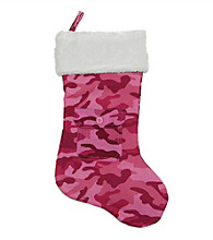 Pink Army Camouflage Christmas Stocking with Pocket and White Faux Fur Cuff