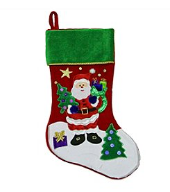 Red Velveteen Santa Claus Sequined Christmas Stocking with Green Cuff