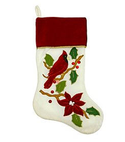 Embroidered Ivory Cardinal Bird Velveteen Christmas Stocking with Red Cuff