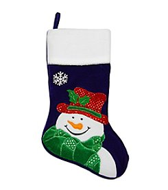 Dark Blue Embroidered Velveteen Snowman Christmas Stocking with White Cuff