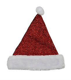 Sparkling Metallic Red Christmas Santa Hat