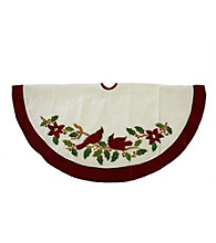 Embroidered Ivory Cardinal Bird Velveteen Christmas Tree Skirt with Red Trim