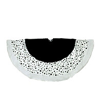Black and White Glittered Polka Dot Christmas Tree Skirt with White Faux Fur Trim