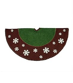 Country Red and Green Christmas Tree Skirt with Snowflake Appliques