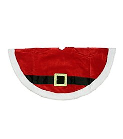 Traditional Red and White Velveteen Santa Claus Belt Buckle Christmas Tree Skirt