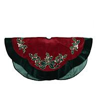 Embroidered Velveteen Holly Berry Tree Skirt