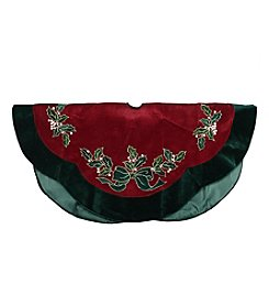 Embroidered Velveteen Holly Berry Tree Skirt