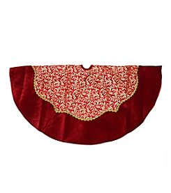 Red and Gold Glittered Leaf Flourish Christmas Tree Skirt with Velveteen Trim