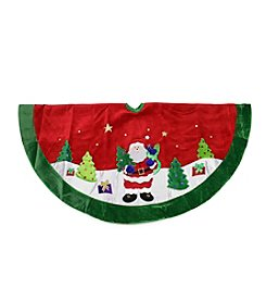 Red Velveteen Santa Claus Sequined Christmas Tree Skirt with Green Trim