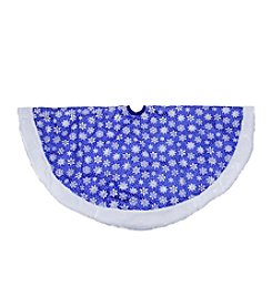Blue Glittered Snowflake Christmas Tree Skirt with White Faux Fur Trim