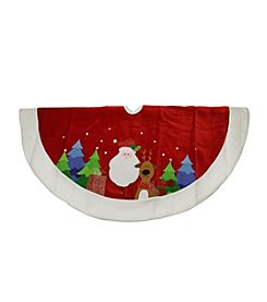 Embroidered Red Velveteen Santa Claus and Reindeer Christmas Tree Skirt
