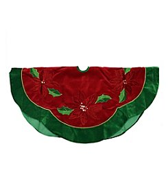 Red Sequined Poinsettia Christmas Tree skirt with Green Velveteen Trim
