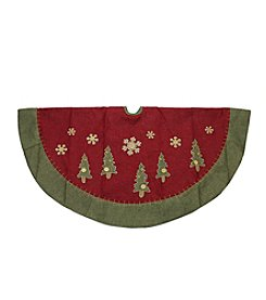 Natural Red and Green Christmas Tree Skirt with Blanket Stitching Trim