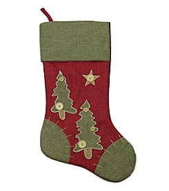Natural Red and Green Christmas Tree Stocking with Blanket Stitching Trim