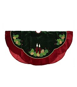 Candle and Pine Cone Christmas Tree Skirt with Red Velveteen Trim