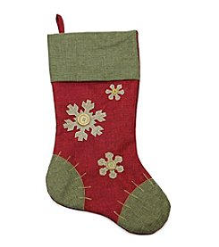 Natural Red and Green Snowflake Christmas Stocking with Blanket Stitching