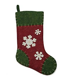 Natural Red and Green Snowflake Applique Christmas Stocking with Blanket Stitching