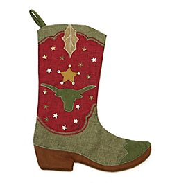 Natural Red and Green Cowboy Boot Christmas Stocking with Bull Silhouette