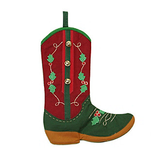 Holly Berry and Jingle Bell Cowboy Boot Christmas Stocking plus size,  plus size fashion plus size appare