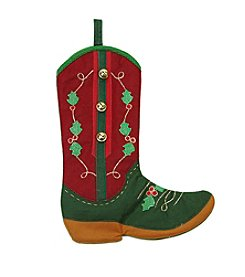 Holly Berry and Jingle Bell Cowboy Boot Christmas Stocking
