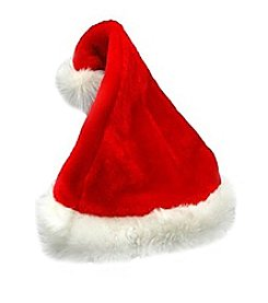 Traditional Red and White Plush Christmas Santa Hat