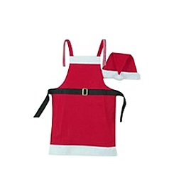 Mr. and Mrs. Claus Inspired Christmas Apron and Hat 2-pc. Set