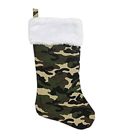 Camouflage Faux-Fur Cuffed Christmas Stocking