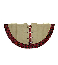 Country Heritage Red and Black Plaid Trimmed Burlap Toggle Jacket Style Christmas Tree Skirt