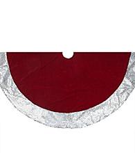 Rich Red Velvet Silver Disco Sequin Bordered Christmas Tree Skirt
