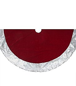 Rich Red Velvet Silver Disco Sequin Bordered Christmas Tree Skirt